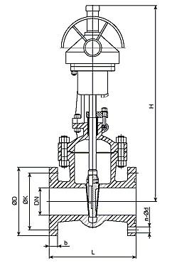 задвижка 30с541нж с механическим редуктором, чертеж